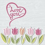 Handwritten lettering Love You on wooden imitation textured background. Template for St.Valentines day, warm season postcard, invitation, flyer, mother day Stock Image