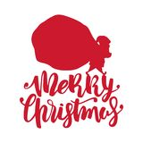 Handwritten lettering of Merry Christmas with silhouette of Santa Claus carries a heavy sack full of gifts. Vector illustration: Handwritten modern brush Stock Photo