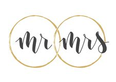 Handwritten Lettering of Mr and Mrs. Vector Illustration
