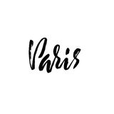 Handwritten lettering poster for your design. Creative typography. Hand drawn greeting card with text Paris. Vector Stock Photo