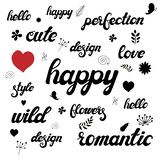 Hand written lettering set with cute floral doodles. royalty free illustration