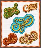 Handwritten lettering set. Super, Crazy, Mega, Grand, Final Stock Photo