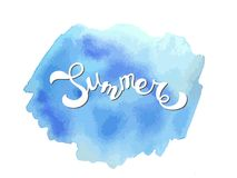 Handwritten lettering Summer on abstract watercolor texture Stock Photo