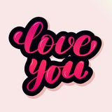 Handwritten lettering typography love you. vector illustration