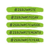 Handwritten lettering of Zero Waste on white background. Zero waste concept. Recycle, reuse and reduce. Ecological lifestyle and sustainable developments stock illustration