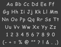 Handwritten letters english alphabet chalk Royalty Free Stock Photo