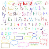Handwritten letters, number, characters, shapes. English alphabet. Drawing by hand. Vector illustration Royalty Free Stock Photography