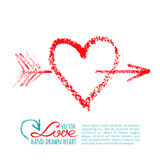 Handwritten lipstick heart and arrow Stock Image