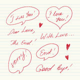 Handwritten Love messages Royalty Free Stock Photo