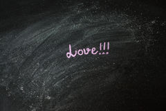 Handwritten message on a chalkboard: Love Royalty Free Stock Photography