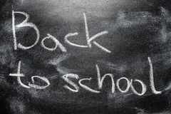 Handwritten Message On Chalkboard Writing Message Back To School Royalty Free Stock Photography