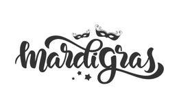 Handwritten modern brush lettering of Mardi Gras with silhouettes of Carnival masks and stars on white background. Vector illustration: Handwritten modern brush Stock Image