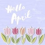 Handwritten modern lettering Hello April on wooden imitation textured background. stock illustration