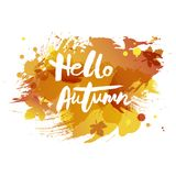 Handwritten modern lettering Hello Autumn isolated on watercolor imitation background. Vector illustration for your artwork, logo, art shop, art school, web Royalty Free Stock Photo