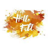 Handwritten modern lettering Hello Fall isolated on watercolor imitation background. Vector illustration for your artwork, logo, art shop, art school, web Royalty Free Stock Images