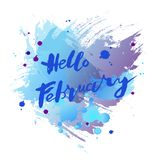 Handwritten modern lettering Hello February on watercolor. Imitation blue background. Lettering for art shop, logo, badge, postcard, poster, banner, web. Vector Royalty Free Stock Photography