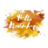 Handwritten modern lettering Hello November isolated on watercolor imitation background. Vector illustration for your artwork, logo, art shop, art school, web Stock Images