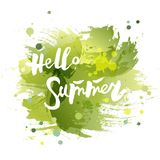 Handwritten modern lettering Hello Summer isolated on watercolor imitation background. Lettering for art shop, logo, badge, postcard, poster, banner, web Royalty Free Stock Photo
