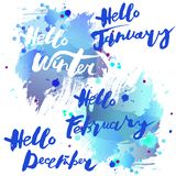 Handwritten modern lettering Hello Winter`s Months with watercolor imitation blue background. Stock Images
