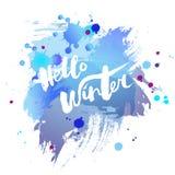 Handwritten modern lettering Hello Winter on watercolor imitation blue background. vector illustration