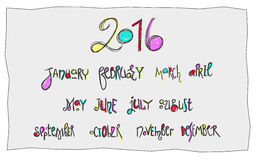 Handwritten months calligraphy. Kids lettering. Doodles style colorful for new calendar design 2016 Royalty Free Stock Images