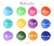 Handwritten months names on watercolor background Stock Photo