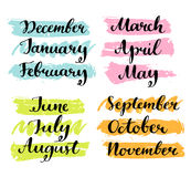 Handwritten months of the year. Calligraphy words. For calendars and organizers Stock Photos