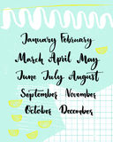 Handwritten months of the year. December, January, February, March, April, May, June, July, August September October November Calligraphy words for calendars Stock Images