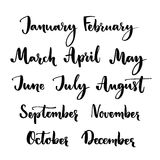 Handwritten months of the year: January, February, March, April, May, June, July, August, September, October, November Stock Photos