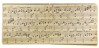 Handwritten music book isolated Royalty Free Stock Image