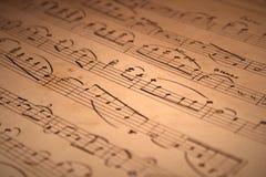 Handwritten musical notation stock image