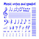 Handwritten musical notes Stock Images