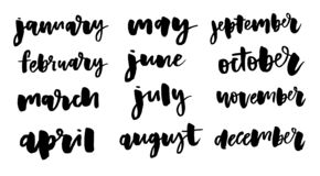 Handwritten names of months: December, January, February, March, April May June July August September October November stock illustration