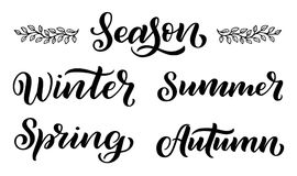 Handwritten names of seasons: winter, spring, autumn, summer. Calligraphy words for calendars and organizers royalty free illustration