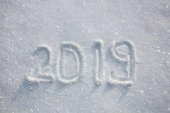 Handwritten 2019 in fresh snow Stock Photo