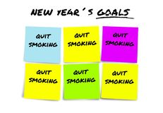 New Year resolutions and goals in sticky notes in commitment determination about quit smoking giving up cigarettes and tobacco stock photography