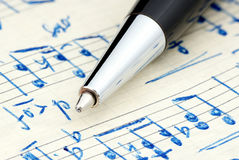 Handwritten notation. Handwritten notation on which is lying pen Royalty Free Stock Photo