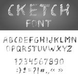 Handwritten Pensil Alphabet Font Stock Photography