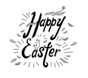 Handwritten phrase Happy Easter with rays, chicken, flower and leaves. royalty free illustration