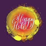 Handwritten phrase Happy Holi. Indian festival background. Greeting card, poster of Holiday of sharing love. Handwritten phrase Happy Holi. Indian festival Royalty Free Stock Photos