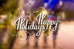 The handwritten phrase Happy holidays on a blue background with icons. EPS 10 Stock Images