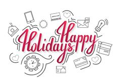 The handwritten phrase Happy holidays on a whine background with icons. EPS 10 royalty free illustration