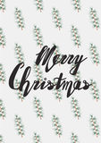 Handwritten phrase Merry Christmas Greeting Card. With hand drawn lettering design. Vector illustration. Holidays Postcard Seamless pattern with hand drawn pine Royalty Free Stock Image