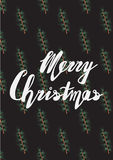 Handwritten phrase Merry Christmas Greeting Card. With hand drawn lettering design. Vector illustration. Holidays Postcard Seamless pattern with hand drawn pine Stock Photos
