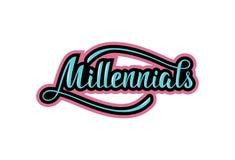 Handwritten phrase Millennials. Lettering. royalty free illustration