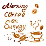 Handwritten Phrase Morning Coffee On Sunday Stock Image