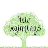 Handwritten phrase - new beginning. Handdrawn lettering design. Stock Images