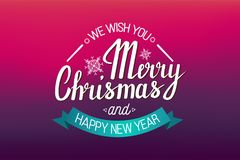 The handwritten phrase We wish you a Merry Christmas and happy New Year. The handwritten phrase We wish you a Merry Christmas and happy New Year on a red Royalty Free Stock Photos