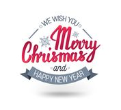 The handwritten phrase We wish you a Merry Christmas and happy New Year. On a white background.EPS 10 Royalty Free Stock Images