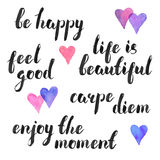 Handwritten phrases. Hand written quotes. Carpe diem, be happy, feel good. Life is beatuful. Enjoy the moment. Modern calligraphy. Ink phases with watercolor Royalty Free Stock Image